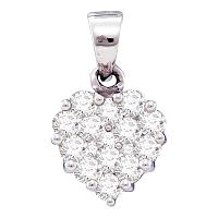 14kt White Gold Womens Round Diamond Small Heart Cluster Pendant 1/2 Cttw