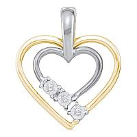 10kt White Two-tone Gold Womens Round Diamond Double Heart Outline Pendant .03 Cttw