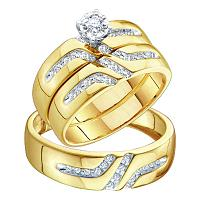 14kt Yellow Gold His & Hers Round Diamond Solitaire Matching Bridal Wedding Ring Band Set 1/4 Cttw