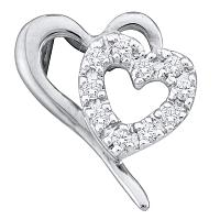 10kt White Gold Womens Round Diamond Small Dainty Heart Pendant 1/10 Cttw