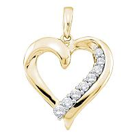 14kt Yellow Gold Womens Round Diamond Heart Love Pendant 1/4 Cttw
