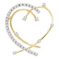 14kt Yellow Gold Womens Round Diamond Wire Heart Pendant 1/5 Cttw