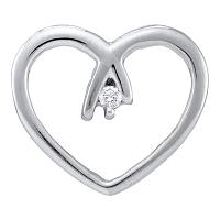 10kt White Gold Womens Round Diamond Solitaire Heart Pendant .03 Cttw