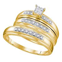 10kt Yellow Gold His & Hers Round Diamond Square Cluster Matching Bridal Wedding Ring Band Set 1/5 Cttw