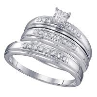 10kt White Gold His & Hers Round Diamond Square Cluster Matching Bridal Wedding Ring Band Set 1/5 Cttw