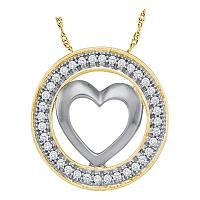 10kt Yellow Gold Womens Round Diamond Encircled Heart Pendant 1/10 Cttw