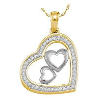 10kt Yellow Gold Womens Round Diamond Triple Nested Heart Pendant 1/6 Cttw
