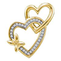 10kt Yellow Gold Womens Round Diamond Butterfly Double Heart Love Pendant 1/10 Cttw