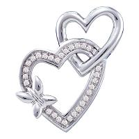 10kt White Gold Womens Round Diamond Double Linked Heart Butterfly Pendant 1/10 Cttw