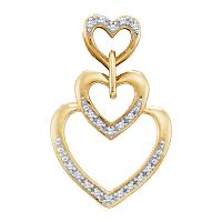 10kt Yellow Gold Womens Round Diamond Triple Trinity Heart Love Pendant 1/20 Cttw