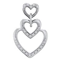 10kt White Gold Womens Round Diamond Triple Trinity Heart Love Pendant 1/20 Cttw