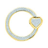 10kt Yellow Gold Womens Round Diamond Circle Heart Love Pendant 1/6 Cttw