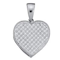 10kt White Gold Womens Round Diamond Classic Heart Cluster Pendant 1/10 Cttw
