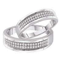 10kt White Gold His & Hers Round Diamond Matching Bridal Wedding Band Set 1/4 Cttw