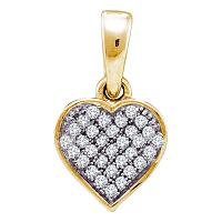 10kt Yellow Gold Womens Round Diamond Small Dainty Heart Love Pendant 1/10 Cttw