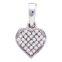 10kt White Gold Womens Round Diamond Small Dainty Heart Love Pendant 1/10 Cttw