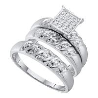 14kt White Gold His & Hers Round Diamond Cluster Matching Bridal Wedding Ring Band Set 1/12 Cttw