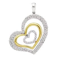 14kt White Gold Womens Round Diamond Heart Love Pendant 1/2 Cttw