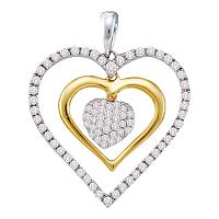14kt White Gold Womens Round Diamond Double Frame Heart Cluster Pendant 1/2 Cttw