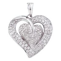 14kt White Gold Womens Round Diamond Heart Love Pendant 1.00 Cttw