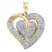 14kt Yellow Gold Womens Round Diamond Double Heart Cluster Pendant 1.00 Cttw