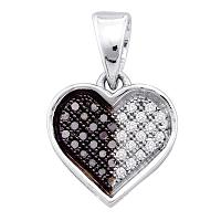 10kt White Gold Womens Round Black Color Enhanced Diamond Heart Love Pendant 1/8 Cttw