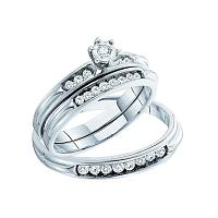 14kt White Gold His & Hers Round Diamond Solitaire Matching Bridal Wedding Ring Band Set 3/8 Cttw