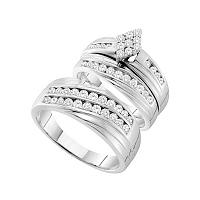 14kt White Gold His & Hers Round Diamond Cluster Matching Bridal Wedding Ring Band Set 1-1/5 Cttw