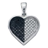 10kt White Gold Womens Round Black Color Enhanced Diamond Heart Cluster Pendant 1/4 Cttw