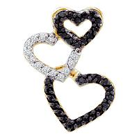 14kt Yellow Gold Womens Round Black Color Enhanced Diamond Triple Cascading Heart Pendant 1/4 Cttw