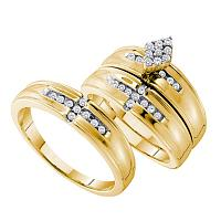 14kt Yellow Gold His & Hers Round Diamond Cluster Matching Bridal Wedding Ring Band Set 1/3 Cttw