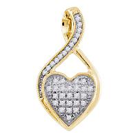 10kt Yellow Gold Womens Round Diamond Twist Heart Cluster Pendant 1/10 Cttw