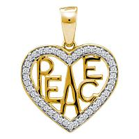 10kt White Two-tone Gold Womens Round Diamond Yellow Peace Heart Pendant 1/6 Cttw