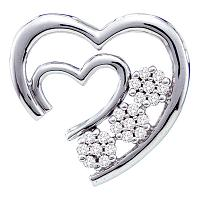 10kt White Gold Womens Round Diamond Open Double Heart Love Pendant 1/12 Cttw
