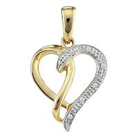 10kt Yellow Gold Womens Round Diamond Two-tone Woven Heart Pendant .03 Cttw