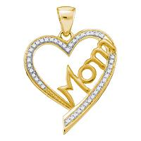 10kt Yellow Gold Womens Round Diamond Heart Love Mom Mother Pendant 1/8 Cttw