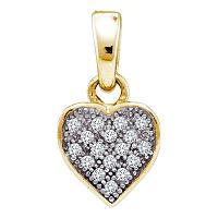 Yellow-tone Sterling Silver Womens Round Diamond Heart Cluster Pendant 1/20 Cttw