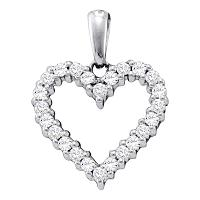 14kt White Gold Womens Round Pave-set Diamond Heart Pendant 1/3 Cttw