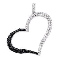 10kt White Gold Womens Round Black Color Enhanced Diamond Heart Outline Pendant 3/8 Cttw