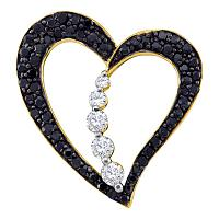 10kt Yellow Gold Womens Round Black Color Enhanced Diamond Heart Journey Pendant 1/2 Cttw