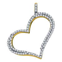 10kt Yellow Gold Womens Round Diamond Outline Heart Pendant 1/3 Cttw