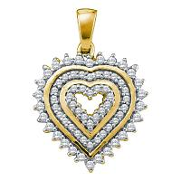 10kt Yellow Gold Womens Round Diamond Concentric Heart Pendant 1/3 Cttw