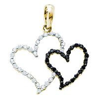 10kt Yellow Gold Womens Round Black Color Enhanced Diamond Heart Love Pendant 1/6 Cttw