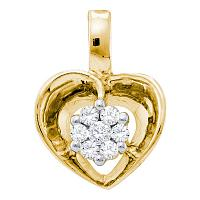 10kt Yellow Gold Womens Round Diamond Small Heart Cluster Pendant 1/12 Cttw