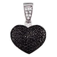 10kt White Gold Womens Round Black Color Enhanced Diamond Heart Cluster Pendant 1/2 Cttw