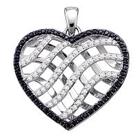 10kt White Gold Womens Round Black Color Enhanced Diamond Lattice Heart Pendant 1.00 Cttw