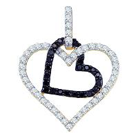 10kt Yellow Gold Womens Round Black Color Enhanced Diamond Double Linked Heart Pendant 1/2 Cttw