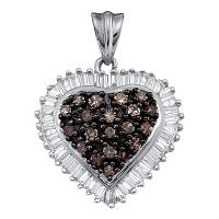 10kt Yellow Gold Womens Round Cognac-brown Color Enhanced Diamond Heart Cluster Pendant 1.00 Cttw