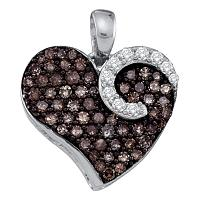 10k White Gold Cognac-brown Diamond Womens Unique Heart Cluster Pendant 3/4 Cttw