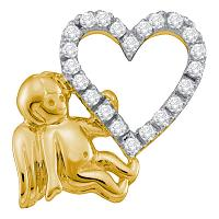 10kt Yellow Gold Womens Round Diamond Cherub Angel Heart Pendant 1/6 Cttw